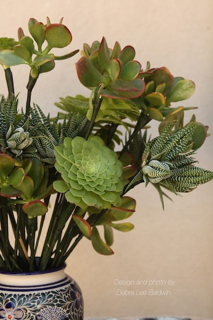 Succulent bouquet of wired rosettes