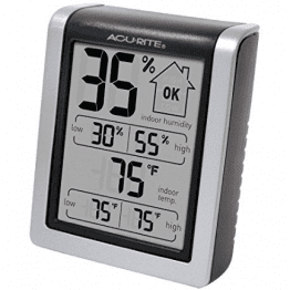 AcuRite 00613 Humidity Monitor with Indoor Thermometer, Digital Hygrometer and Humidity Gauge Indicator, about $10 on Amazon.